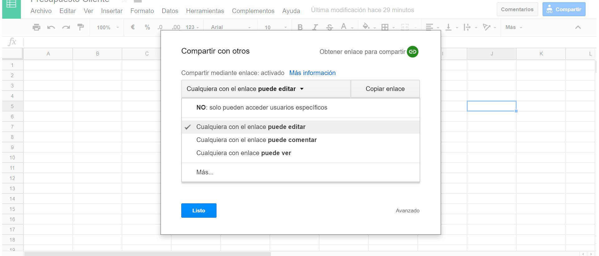 Compartir y colaborar en Google Drive
